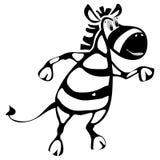 卡通人物快乐的斑马跳舞 向量例证