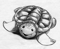 卡通效果草龟剪影 免版税库存照片