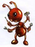 卡通效果蚂蚁工作者剪影 免版税库存图片