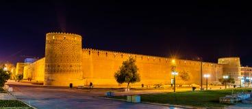 卡里姆汗城堡在晚上在设拉子,伊朗 免版税库存照片