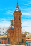 卡门的教堂维尔京瓜达尔基维尔河的海岸的 库存照片