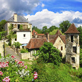 卡雷纳克村庄-多尔多涅省,法国 免版税库存图片