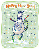 贺卡,滑稽的山羊,新年快乐! 库存图片