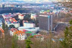 卡洛维变化空中全景视图,捷克 免版税库存图片