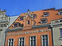 卡洛维美好的五颜六色的建筑学在捷克Repub变化 免版税库存照片
