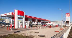 卢克石油加油站在晴天 图库摄影