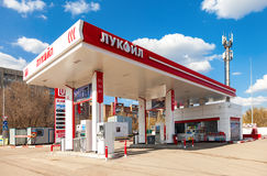 卢克石油加油站 卢克石油是一个最大的俄国油com 免版税库存图片