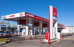 卢克石油在翼果,俄罗斯的加油站 库存图片