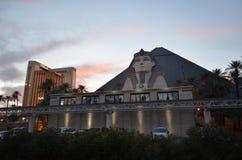 卢克索旅馆,天空,反射,大厦,晚上 库存照片