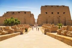 卢克索,埃及卡纳克神庙寺庙  库存照片