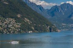卢加诺湖,瑞士欧洲- 9月21日:Fer的看法 免版税图库摄影
