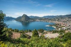 卢加诺,提契诺州全景小行政区,瑞士 免版税库存图片