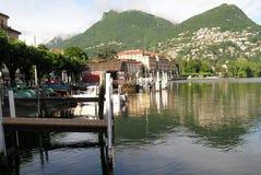 卢加诺,瑞士港口 免版税库存照片