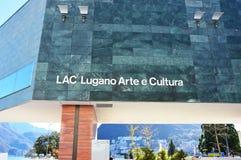卢加诺,瑞士- 2017年11月27日:紫胶博物馆在瑞士的意大利部分的卢加诺 免版税库存图片