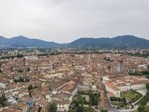 卢卡市 鸟瞰图 意大利 在视图之上 库存照片