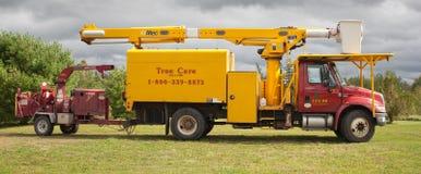 卢卡斯树专家公共事业卡车 库存照片