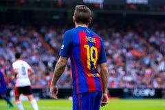 卢卡斯迪涅使用在巴伦西亚锎和巴塞罗那足球俱乐部之间的西班牙足球甲级联赛比赛在Mestalla 免版税库存照片