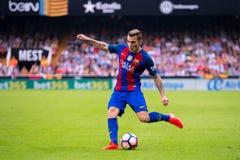 卢卡斯迪涅使用在巴伦西亚锎和巴塞罗那足球俱乐部之间的西班牙足球甲级联赛比赛在Mestalla 免版税库存图片