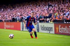 卢卡斯迪涅使用在巴伦西亚锎和巴塞罗那足球俱乐部之间的西班牙足球甲级联赛比赛在Mestalla 库存图片