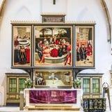 从卢卡斯Cranach的著名法坛在民事教会里在Wittenber 库存图片