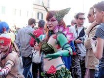 卢卡,意大利- 11月11 :在卢卡掩没漫画人物 免版税库存照片