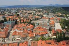 卢布尔雅那历史的中心视图,斯洛文尼亚 免版税库存照片