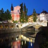 卢布尔雅那在晚上,斯洛文尼亚 免版税库存照片