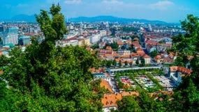 卢布尔雅那城堡全景 免版税库存照片