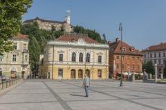卢布尔雅那城堡和国会在卢布尔雅那,斯洛文尼亚摆正 免版税库存照片