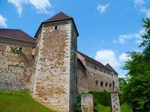 卢布尔雅那城堡的设防 免版税库存照片
