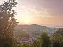 卢布尔雅那城堡视图 库存照片