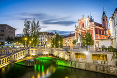 卢布尔雅那市中心- Tromostovje,斯洛文尼亚 免版税库存照片