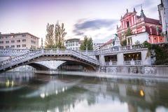 卢布尔雅那市中心- Tromostovje,斯洛文尼亚 库存图片