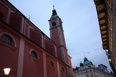 卢布尔雅那斯洛文尼亚市夜 库存照片