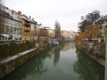 卢布尔雅那河在冬天 免版税库存图片