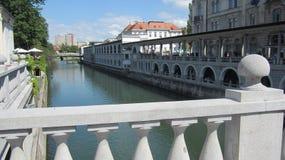 卢布尔雅那的中心 免版税库存图片