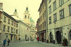 卢布尔雅那的历史的市中心看法  免版税库存照片