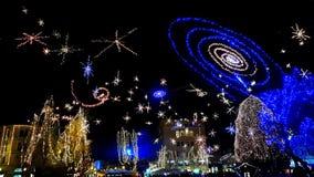 卢布尔雅那老市中心圣诞节假日轻的装饰 免版税图库摄影