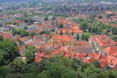 卢布尔雅那集中-圣詹姆斯教会区域,斯洛文尼亚 免版税库存照片