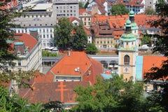 卢布尔雅那集中-大教堂和主要市场,斯洛文尼亚 图库摄影