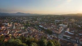 卢布尔雅那,斯洛文尼亚,欧洲Panoram视图  库存照片