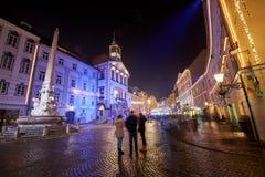 卢布尔雅那,斯洛文尼亚- 2017年12月21日:出现12月夜 库存照片