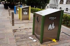 卢布尔雅那,斯洛文尼亚- 2017年8月15日 排序在市中心的垃圾 生态和自然关心 图库摄影