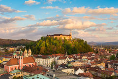 卢布尔雅那,斯洛文尼亚,欧洲全景。 图库摄影