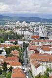 卢布尔雅那-城市全景 图库摄影