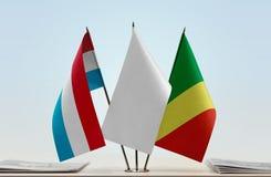 卢森堡和刚果共和国旗子  免版税图库摄影