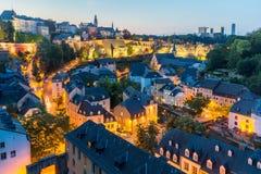 卢森堡市夜 免版税库存图片