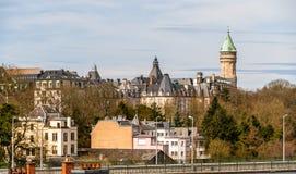 卢森堡市的历史的中心的看法 库存照片