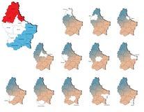卢森堡省地图 免版税图库摄影