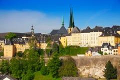 卢森堡从高峰的全景视图在夏天 免版税库存照片